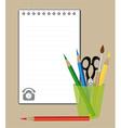 notepad and drawing supplies vector image vector image