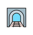 railroad tunnel with rails railway road subway vector image vector image