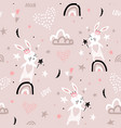 seamless childish pattern with bunny princess on vector image