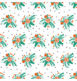 seamless pattern christmas flower bouquets vector image vector image