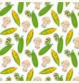 seamless pattern vegetables with elements vector image
