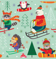 seamless pattern winter fun with animals on sled vector image