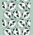 seamless pattern with cute panda faces and vector image