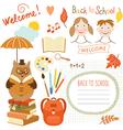 set back to school elements school supplies vector image