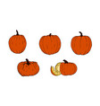 set of pumpkins for halloween funny faces autumn vector image vector image
