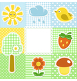 Summer frame with flower strawberry sun and bird vector image vector image