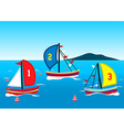 Three sailing boats race on the water vector image vector image
