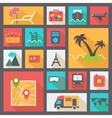 Travel and vacation icons set flat design vector image