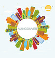 vancouver skyline with color buildings blue sky vector image vector image