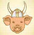 Viking Helmet Pig vector image vector image