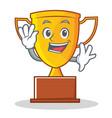 waving trophy character cartoon style vector image vector image