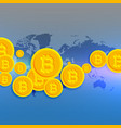 world map with floating bitcoins symbols vector image vector image