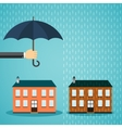 Hand with umbrella protecting house vector image