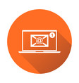 email envelope message on laptop in flat style on vector image