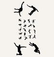 Parkour Tricking Silhouettres vector image