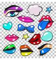 pop art comic fashion patches stickers set vector image
