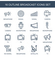 16 broadcast icons vector image vector image