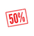 50 OFF red rubber stamp on white vector image vector image