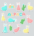 alpaca stickers hand drawn vector image