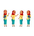 arab muslim teen girl poses set pretty vector image