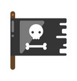 black and white jolly roger with skull and bone vector image