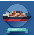 Cargo ship icon on background in flat design style vector image