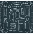 Chalkboard cosmetic bottles set 2 vector image