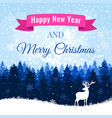 christmas background with deer and winter forest vector image vector image