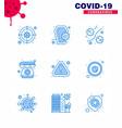 coronavirus prevention set icons 9 blue icon vector image vector image