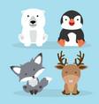 cute arctic animals cartoon set vector image vector image