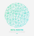 digital marketing concept in circle vector image vector image