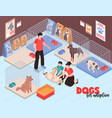 dog shelter family isometric vector image vector image