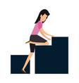 elegant businesswoman climbing statistics bars vector image