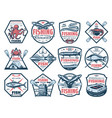 fishing icons fish and seafood catch tackles vector image vector image