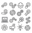 gear line icons set on white background vector image vector image