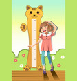 girl measuring her height vector image