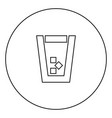 glass with ice black icon in circle outline vector image vector image