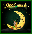 good night card with cute little witch sitting on vector image