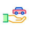 hand holding car icon outline vector image vector image