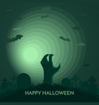haunted happy halloween banner dead hand vector image vector image