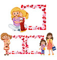 heart frame templates with mother and kids vector image vector image