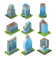 isometric urban office buildings set vector image vector image