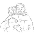 jesus hugging child christian coloring page vector image vector image