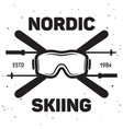label of ski club vintage mountain winter badge vector image vector image