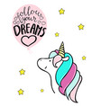 little unicorn and balloon follow your dreams vector image