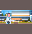 male doctor standing over hospital building vector image vector image