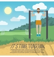 Man on pull-up bar fitness poster vector image vector image