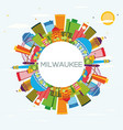 milwaukee skyline with color buildings blue sky vector image vector image