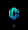 monogram c logo ribbon origami paper strip vector image