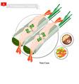 Nem Cuon or Vietnamese Traditional Spring Rolls vector image vector image